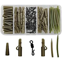 JSHANMEI ® 120pcs/box Carp Fishing Tackle Kit Bundle Safety Lead Clips Quick Swivel Anti-Tangle Sleeve Kit by JSHANMEI