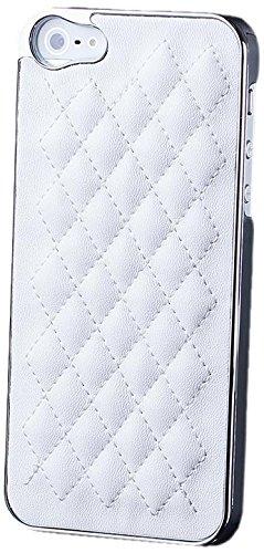 Apple iPhone SE / 5S / 5 | iCues cas robinet chromé Argent / Turquoise | [Protecteur d'écran, y compris] cuir chrome - faux de protection Housse Housse de protection Coque Housse Sac Étui Case Cover Argento bianco