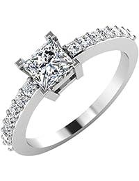 IskiUski White Gold And American Diamond Ring For Women - B075VH9QMJ