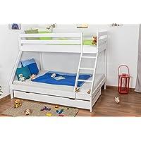 Etagenbett/Spielbett Lukas Buche massiv weiß lackiert mit schräger Leiter, inkl. Rollrost preisvergleich bei kinderzimmerdekopreise.eu