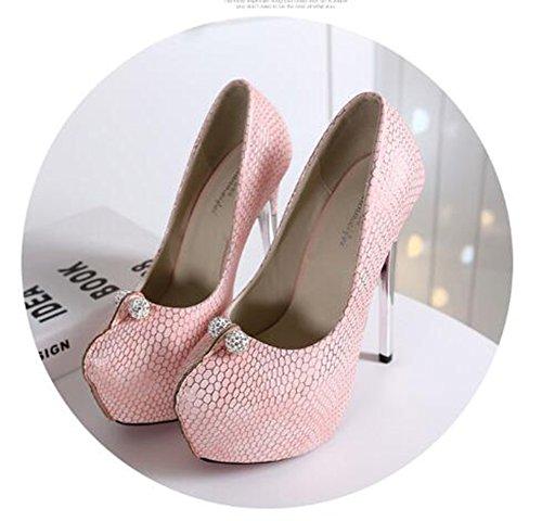 Aisun Damen Sexy Strass Rund Low-Cut Plateau High Heels Pumps Pink