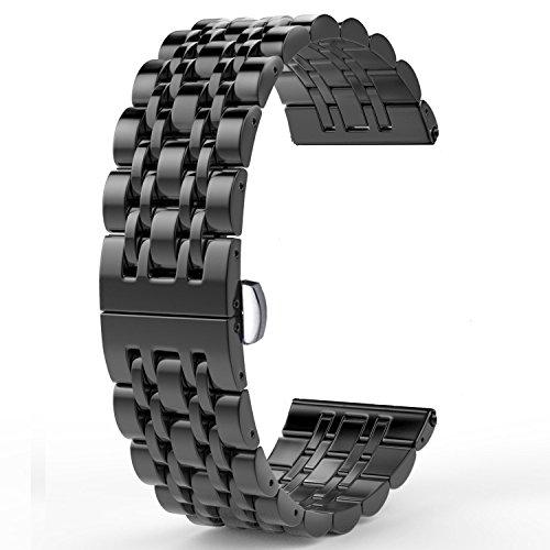 Adallor Massives Edelstahlarmband, Uhrenarmbänder Metall Ersatzband Uhrenarmband 18mm, 20mm & 22mm Metal Armband mit Faltschließe für Damenuhren, Herrenuhren (Schwarz, 22 mm)