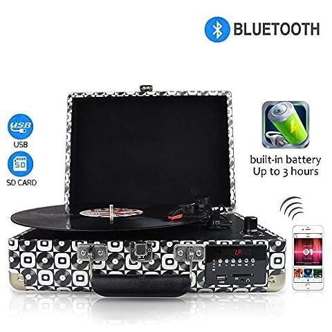 DigitNow! LP Platine Vinyle Bluetooth Retro Convertisseur Port USB 33/45/78 RPM avec Haut-parleurs Intégrés, Tourne-disque Vinyle à MP3 Codage Fonction, Codage SD, Radio FM