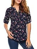 Beyove Damen Vintage Sommer Blumen Bluse Lose T-Shirt Strand Tunika Casual Chiffon Bluse Tops Rundhals,EU 40(Herstellergröße: M),Dunkelblau1