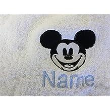 Albornoz con capucha para bebé de color blanco o blanco con capucha toalla con una cara de Mickey Mouse Logo y nombre de su elección., Blanco, Hooded Towel 0-5 years
