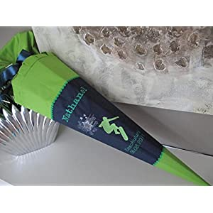 Skater dunkelblau-grün Schultüte Stoff + Papprohling + als Kissen verwendbar