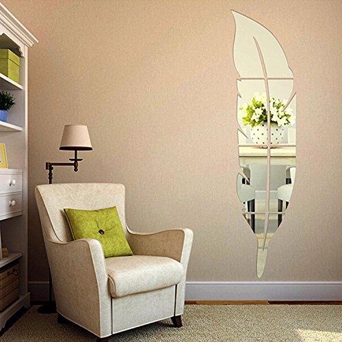 Soledi 3D Specchio Adesivo Moderno a Forma di Piuma Fai da Te Removibile Decorazione di Casa (120*30 cm, Argento)