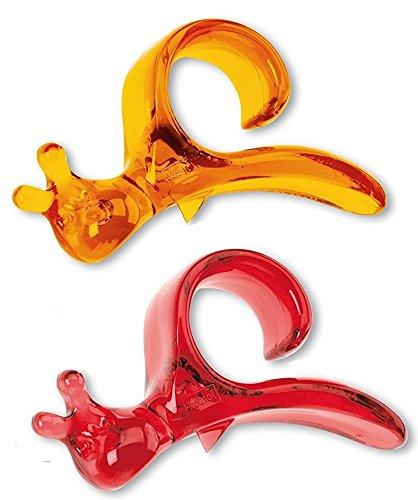 Orangenschäler Koziol Emma p.- niedliche und praktische Früchte Schäler mit sicherer Klinge aus Kunststoff, zwei Stück in Farben transparent Orange Rot