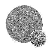 Shaggy-Teppich, Flauschiger Hochflor Wohn-Teppich, Einfarbig/Uni in Grau für Wohnzimmer, Schlafzimmmer, Kinderzimmer, Esszimmer, Größe: 80 x 80 cm Rund