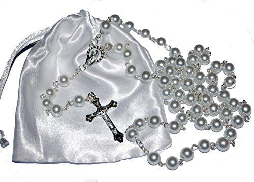 First Holy Communion Rosary Beads - 1st Communion Present - Girls & Boys Gift by Amelia Mae - Cs Satin