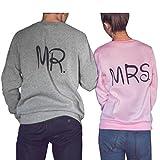 Ularma ❤ Liebespaar Casual Pullover Crew Neck Grau Pink Sweatshirt Tops mit MR MRS Druck (M, Pink)
