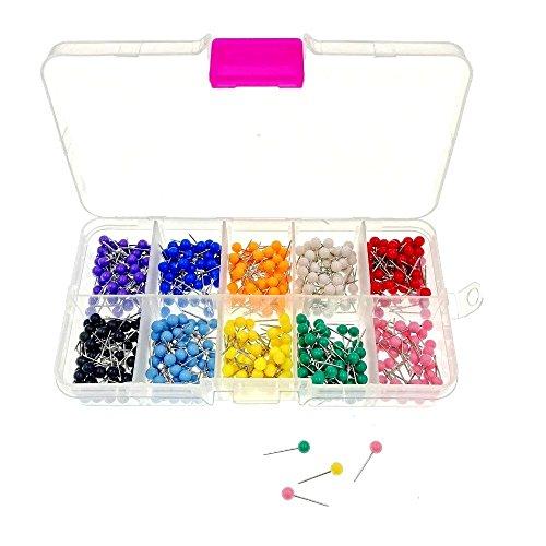 JZK 500 Mehrfarbige runde Kopf Push Pins Karte Nagel Pinnadeln mit Box, für Kork Bulletin Board Karte Tafel Anschlagtafel Korkenbrett Pinnwand (14x14 Bulletin Board)