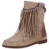 SCARPE VITA Damen Stiefeletten Mokassin Boots Wildleder-Optik Stiefel Fransen 170839 Khaki 37