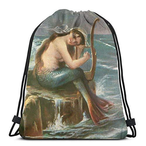 ghfghgfghnf Drawstring Backpack Bag,Cinch Sack,Gym Sack,for Girls Or Men Shopping,Sport,Gym,Yoga,School,Mermaid Print Camo Piraten