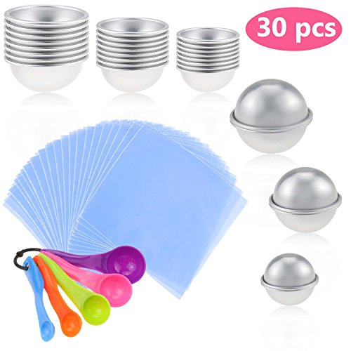 Zexuan 30 Pcs DIY Bath Bomb Mold, Homemade Soap Making Kits Balls Mold Set Round Bath Bomb kits in 3 Size with BONUS 5 Pices Spoons + 100 Pcs Shrink Wrap Bags for Crafting Your Own Fizzle