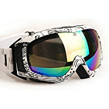 Lalawow Gafas de sol Gafas de esquí Nieve anti-vaho gafas UV400 Protección Moda Multisport Hombre Mujer (NEGRO Y BLANCO)
