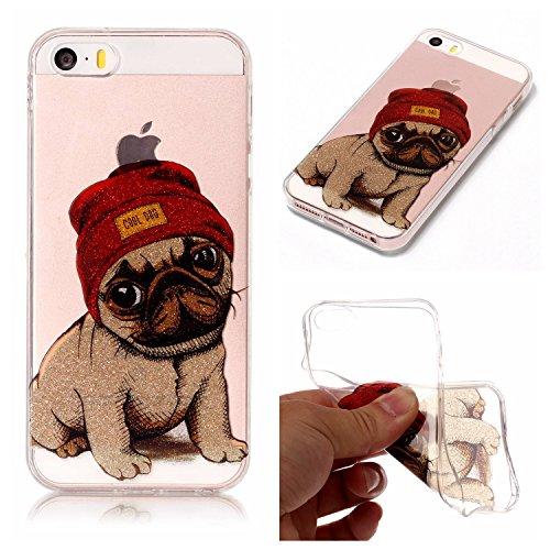 Cozy Hut iPhone SE 5 5S 5G Hülle, Bling Glänzend Glitzer Klar Durchsichtige TPU Silikon Hülle Handyhülle Tasche Back Cover Schutzhülle für iPhone SE 5 5S 5G - Hündchen