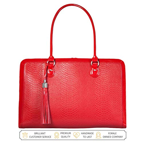 BFB Laptoptasche für Frauen - Handgefertigte Designer Aktentasche, Messenger Tasche 17 Zoll Computertasche - Rot - by My Best Friend Is A Bag