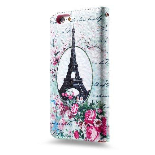 jbTec® Flip Case Handy-Hülle zu Apple iPhone 6 / 6s - BOOK MOTIV #04 - Handy-Tasche, Schutz-Hülle, Cover, Handyhülle, Bookstyle, Booklet, Motiv / Muster:Union Jack Eiffelturm & Blumen P17