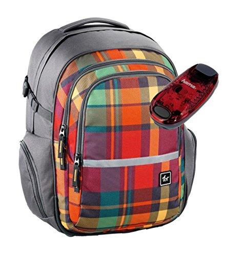 All Out Schulrucksack mit verstellbarem Tragesystem und LED-Sicherheitslicht - viele Farben und Dessins (Woody Orange)