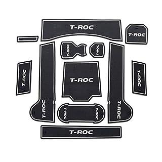 LFOTPP T-ROC Auto Styling Innentür Gummi Matte Becherhalter Slot Pad Rubber Mats (White)