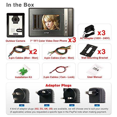 "Generic 7"" inch Color LCD Video Door Phone Doorbell Home Entry Intercom System 3 Monitor 1 Camera Night Vision 702"