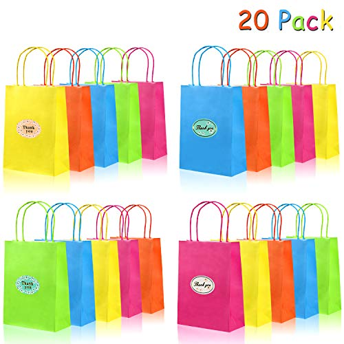 aovowog busta di carta con manici per regalo kraft 20 Pezzi Sacchetti da regalo 5 Colori wedding shopping gift bag