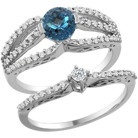 Revoni-Bracciale in oro bianco, 14 carati, con topazio blu Londra 2-Set di anelli di fidanzamento, 5 mm