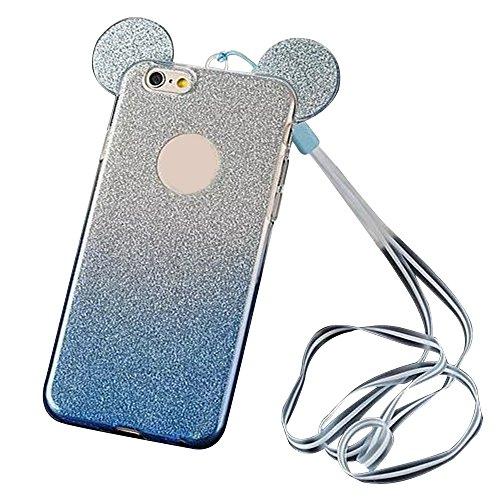 Coque arrière souple en silicone TPU pour smartphone–Superbe coque Aohro à paillettes avec oreilles Mickey Mouse et cordon tour de cou, plastique, Gradient Blue, iPhone 5 5S SE