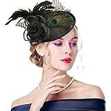 Edith qi Damen Hut Fascinators, Elegante Weinlese Feder Pfau Retro Blume Sinamay Netz Fascinator mit Haarclip für Cocktail Party Hochzeit Zubehör, Mehrfarbig
