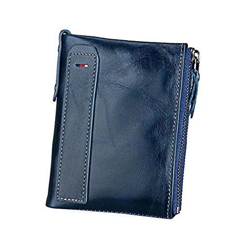 Pawaca Männer RFID Blocking Wallet Echtes Leder Doppel Reißverschluss Bifold Brieftasche mit Münze Kartenhalter (Mit Reißverschluss Brieftasche)