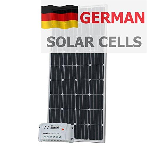180W 12V Photonic Universe Solar Ladekabel Kit aus Deutsche Solar Zellen mit 20A Controller und 5m Kabel für 12V Batterie oder Akku Bank