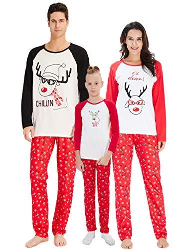 Pijama a Juego con la Familia de Navidad, Gracioso venado de Santa Chillin Estampado de Letras Mamá y papá Niños Ropa de Dormir Pijamas Bebé Conjunto de Manga Larga para Mujeres
