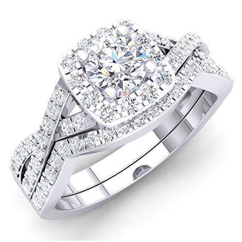 Cz Halo Verlobungsring (Damen Ring / Ehering 1.80 Karat 10 Karat Weißgold Rund Zirkonia CZ Halo Verlobungsring Ehering Set)