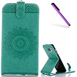 Pour Samsung Galaxy S7 Edge Coque de protection Or,Étui en cuir pour Samsung Galaxy S7 Edge,Galaxy S7 Edge Flower Étui de protection en cuir Cover Étui,EMAXELERS Galaxy S7 Edge Coque de protection Flip Case,étui Pour Samsung Galaxy S7 Edge Wallet Leather Case,Galaxy S7 Edge Coque Etui de Protection PU Cuir Portefeuille Housse Swag Case Cover Coquille Couverture avec Fonction Stand et Fentes de Carte de Crédit pour Samsung Galaxy S7 Edge,Green Sunflower