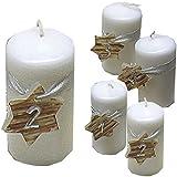 Weihnachten Zahlen 1234 Kerzenset 4 Stück Stumpenkerzen Adventskerzen 100x50 Dekokerzen Kerzen weiß mit Stern für Adventskranz braun silber andere Farben möglich IW18