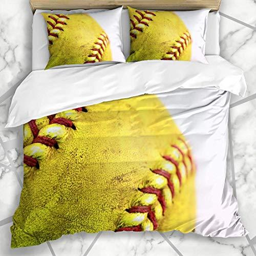 Bettwäschesets Nahaufnahmefeld Gelb Softball Rot Nähte Sport Erholung American Ball Baseball Detail Schmutziges Design Mikrofaserbettwäsche mit 2 Kissenbezügen