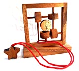 LOGICA Spiele Art. DER MOND UND DIE STERNE - Seilpuzzle - Schwierigkeit: 4/5 EXTREM - Denkspiel - Knobelspiel - Geduldspiel aus Holz
