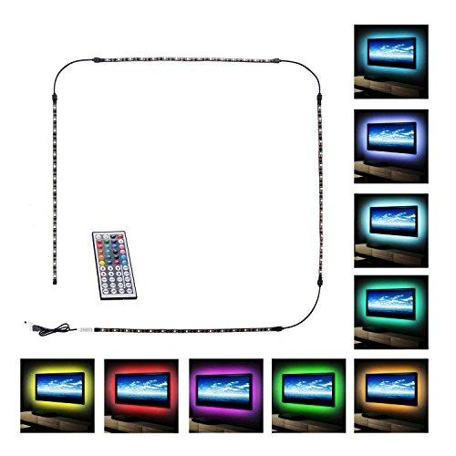 Guaiboshi USB Tira LED Luz 4*50cm 5050 TV Ambiente Iluminación de Tira +Mini Mando Control Remoto de 44 Botones para HDTV y Monitor de PC