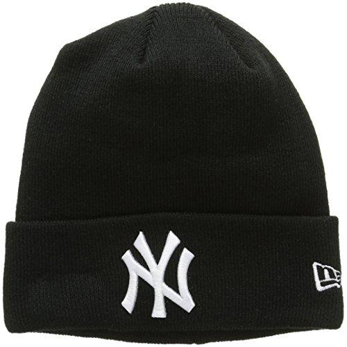 New Era Herren Strickmütze Essential Ny Yankees Cuff Knit Schwarz-Schwarz, One size