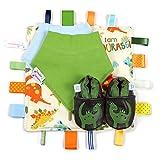 Dotty Fish Leder Babyschuhe Geschenkbox - Baby Jungen und Mädchen - Jake der Dinosaurier - 6-12 Monate