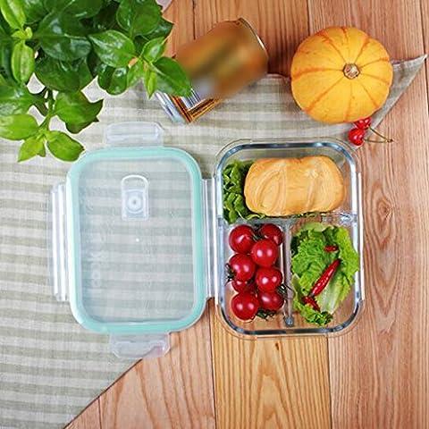 Hitzebeständiger Crisper, Drei Jahreszeiten Glas Lunchbox Mikrowellenherd vorhanden Untergitter Mittagessen Suppe Box Rechteck 1020ml 195 × 145 × 61mm ( Farbe : Weiß (Rechteck Glas)