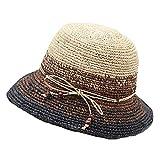 Berretti da Donna Elegante Mare Femminile Cappello Estivo Visiera da Facile da Abbinare Spiaggia Cappello Protezione Solare Cappello di Paglia Slouch Cappelli (Color : A, Size : One Size)