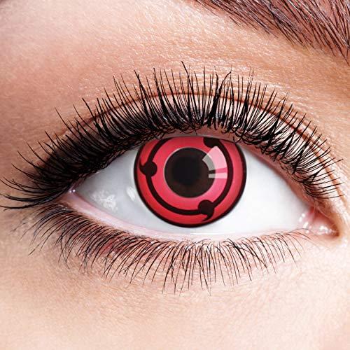 Farbige Kontaktlinsen Schwarz Rot Ohne Stärke mit Motiv Linsen Halloween Karneval Fasching Cosplay Kostüm Black Red Eyes Schwarze Rote Augen Anime Sharingan Ring