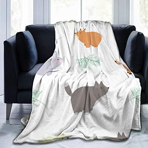 Aeykis Forest Seamless Pattern mit niedlichen Tieren - Fox-Vektor-Bild-Bettdecke Coral Velvet Warm Throw Blanket In Winter
