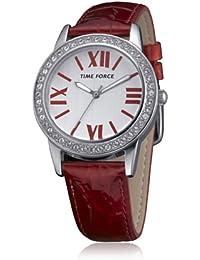 Time Force TF4087L04 - Reloj con correa de cuero para mujer, color rojo / gris