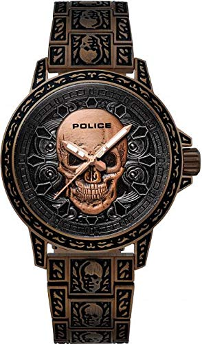 Police Bronxdale Set Montre à Quartz Rouge Brun