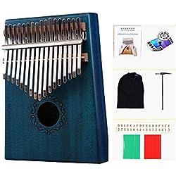LIWEISDSDFS - Piano de dedo Kalimba con 17 llaves, instrumento musical de caoba, gran regalo, azul