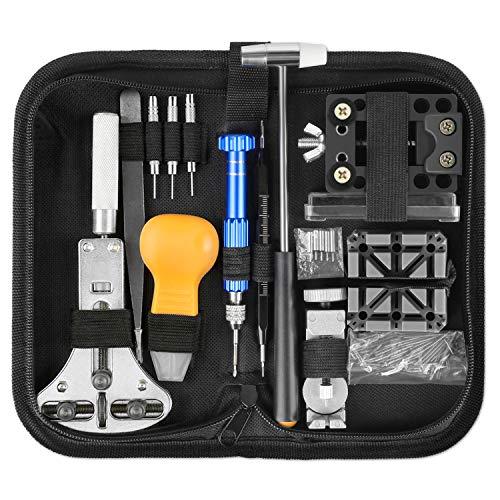 Yissvic 183pz strumenti orologi kit riparazione orologi professionale set riparazione orologi incluso video sull'utilizzo