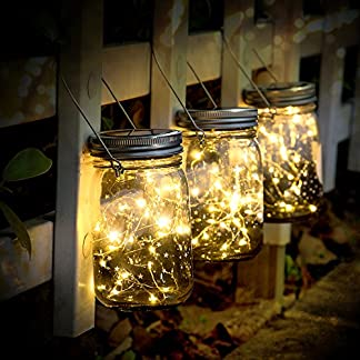 SUNNOW Solar Mason Jar Lámpara (3PCS), Decoración de Jardín y Home Deco LED Impermeable Light, Se Utiliza Para Festivales, Bodas, Fiestas, Luces de Hadas, Luces Mágicas, Linternas Al Aire Libre